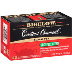 Bigelow Decaffeinated Constant Comment, Decaffeinated Individual Black Tea Bags, for Hot Tea or Iced Tea, Drink Plain or Sweetened with Honey or Sugar, 20 Count, Pack of 6