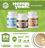 Manitoba Harvest Hemp Yeah! Organic Plant-Based Protein Powder, Unsweetened, 16oz; with 20g of Protein, 2g of Fiber & 2g Omegas 3&6 Per Serving, Preservative Free, Non-GMO - Vitamins Emporium
