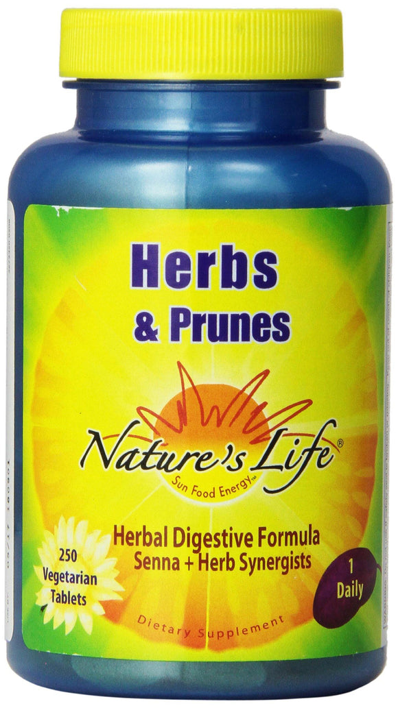 Nature's Life Herbs and Prunes Veg Tablets, 250 Count - Vitamins Emporium