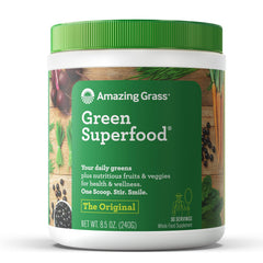 Amazing Grass Green Superfood Organic Powder with Wheat Grass and 7 Super Greens, Flavor: Original, 30 Servings, 1 scoop = 2 servings of veggies