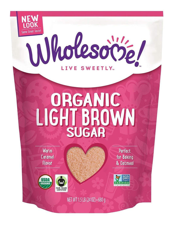 Wholesome Sweeteners Fair Trade Organic Light Brown Sugar, 24-Ounce Pouches (Pack of 6) - Vitamins Emporium