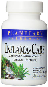Planetary Herbals Inflama-Care Turmeric/Boswellia Complex 1165mg,  Increases Full-Body Antioxidant Activity, 30 Tablets - Vitamins Emporium
