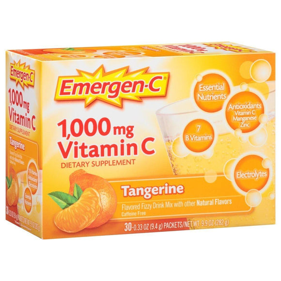 Emergen-C (30 Count, Tangerine Flavor, 1 Month Supply) Dietary Supplement Fizzy Drink Mix with 1000mg Vitamin C, 0.33 Ounce Packets, Caffeine Free - Vitamins Emporium