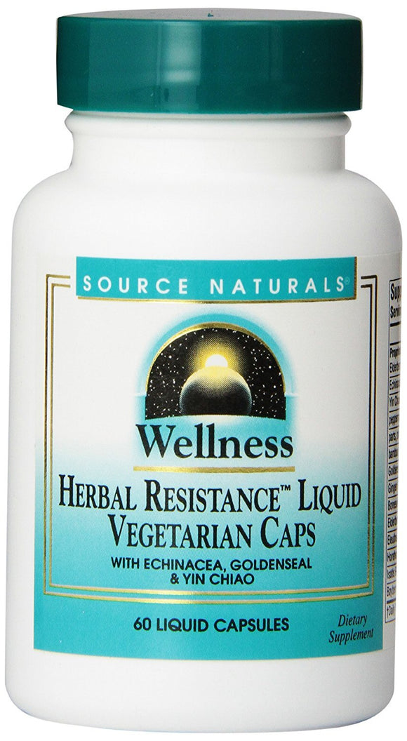 Source Naturals Wellness Herbal Resistance, with Echinacea, Goldenseal & Yin Chiao Immune Support, 60 Liquid Vegetarian Capsules - Vitamins Emporium