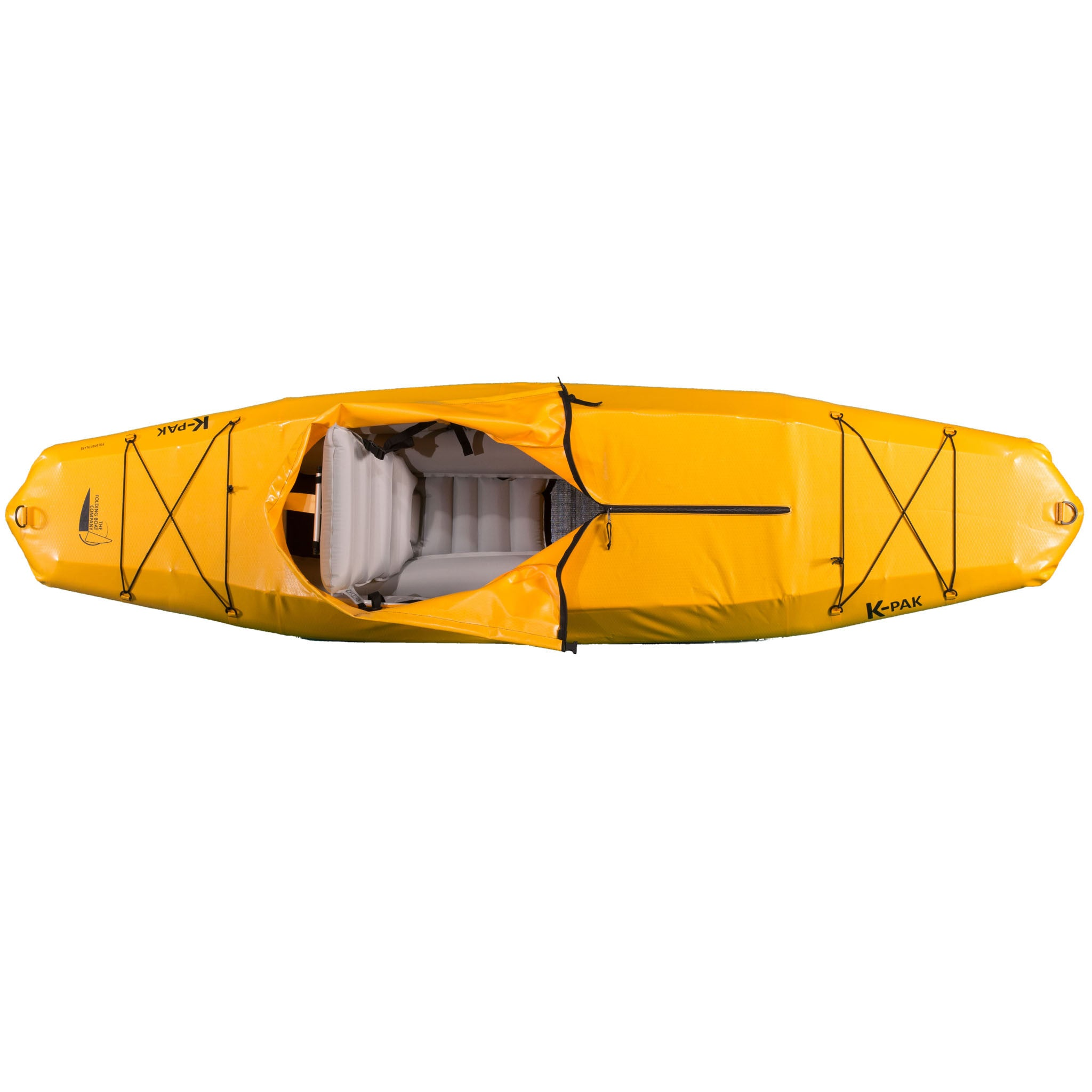 K-PAK foldable kayak in yellow from overhead sold by Wee Boats
