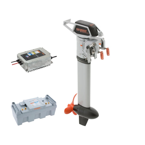 Torqeedo Cruise 2.0 Remote Electric Outboard Short Shaft package includes one Power 26-104 batteries and Fast Charger