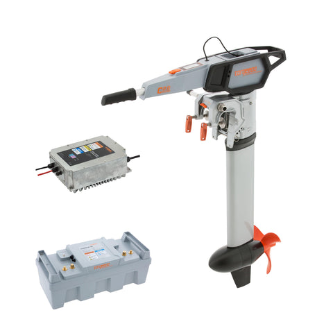 Torqeedo Cruise 2.0 Tiller Electric Outboard Short Shaft package includes one Power 26-104 batteries and Fast Charger