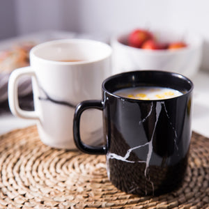 black and white marble mugs