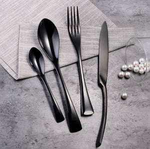 black flatware set