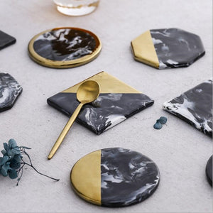 Black Marble & Gold Coaster