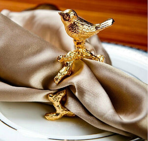 Golden Bird Napkin Ring Set