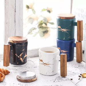 Electric Marble and wood Mug