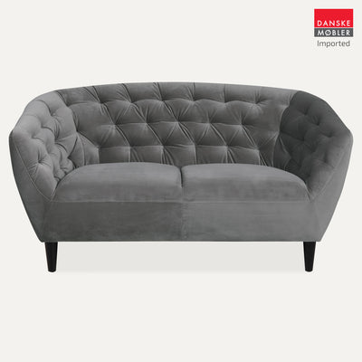 Ria Grey Velvet 2 Seater Sofa