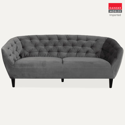 Ria Grey Velvet 3 Seater Sofa