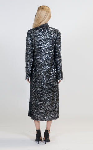 Silver and Black Sequins Aria Robe - Arianne Elmy