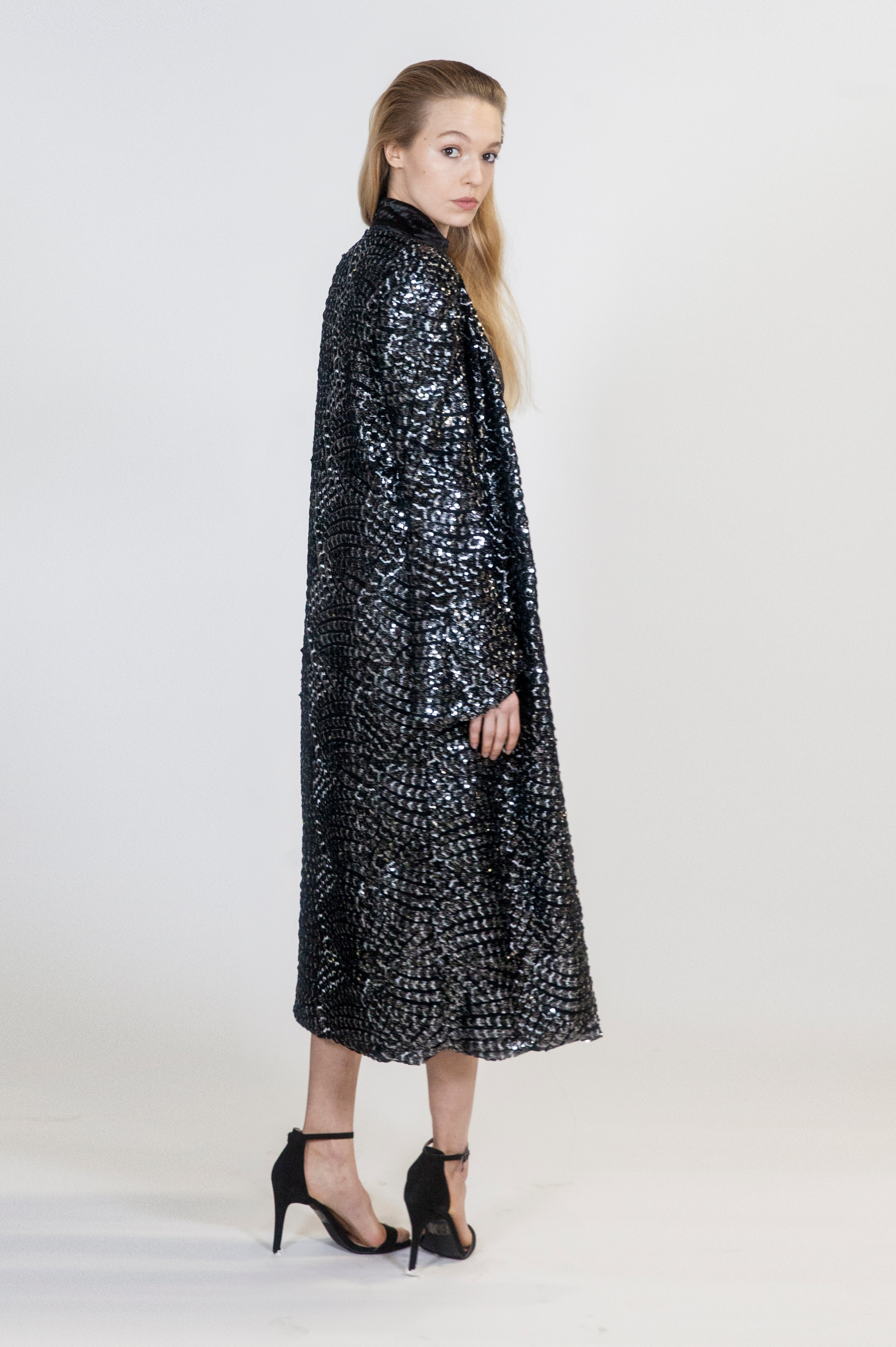 Silver and Black Sequins Aria Robe