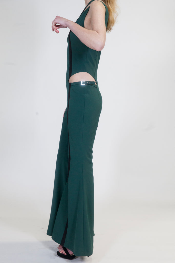 Hunter Green Wide Leg Veruschka Jumpsuit - Arianne Elmy