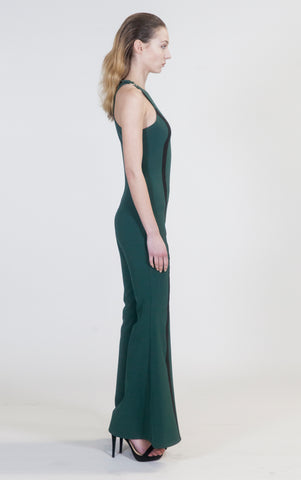 Hunter Green Wide Leg Veruschka Jumpsuit