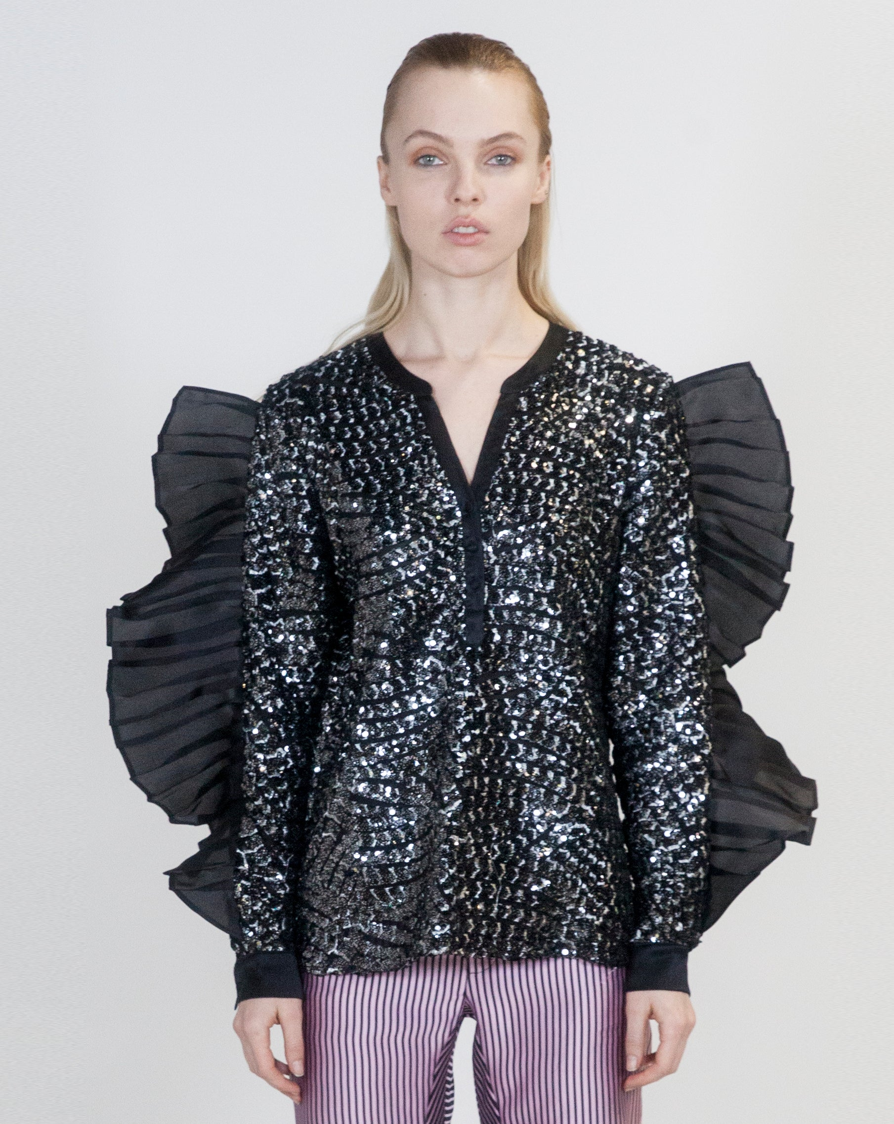 Sequins Oversized Ruffle Top - Arianne Elmy