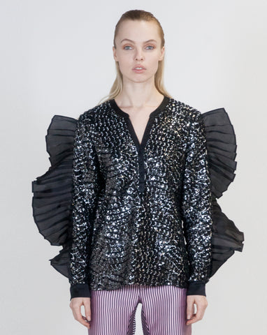 Sequins Oversized Ruffle Top