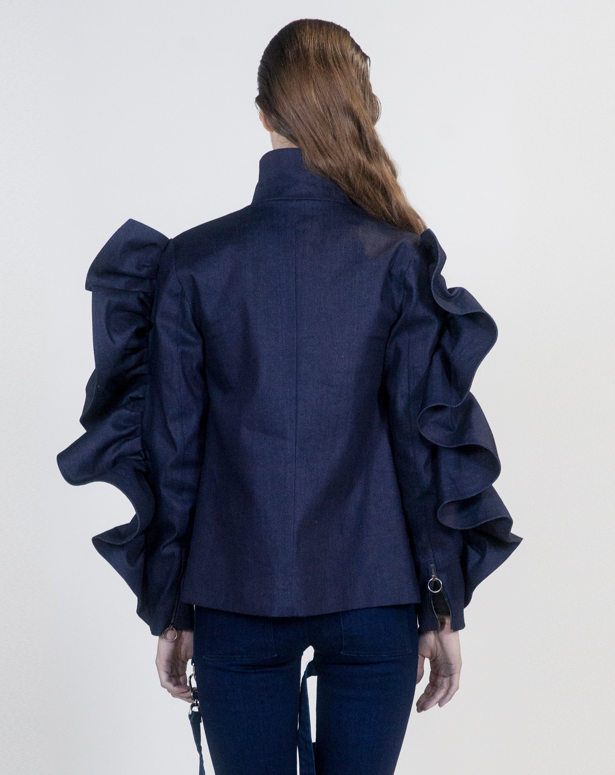 Denim Oversized Ruffle Jacket - Arianne Elmy