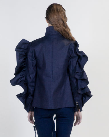 Denim Oversized Ruffle Jacket