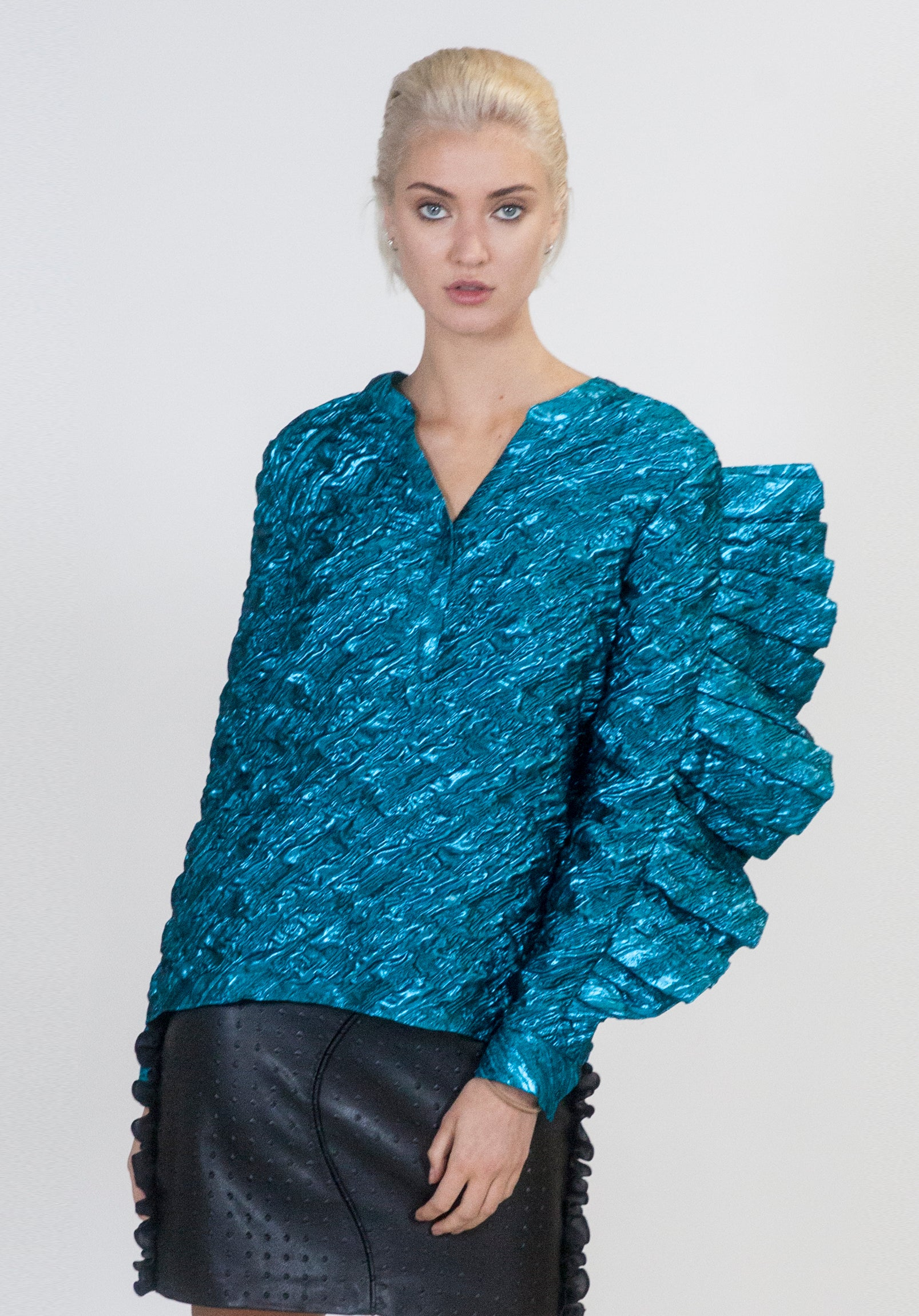 Electric Blue Oversized Ruffle Top - Arianne Elmy