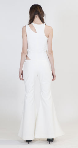White Wide Leg Veruschka Jumpsuit