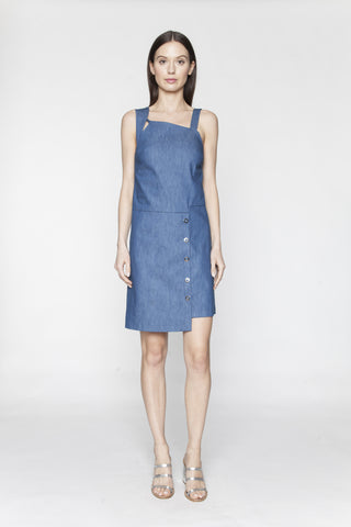 Denim Asymmetrical Snap Dress - Arianne Elmy