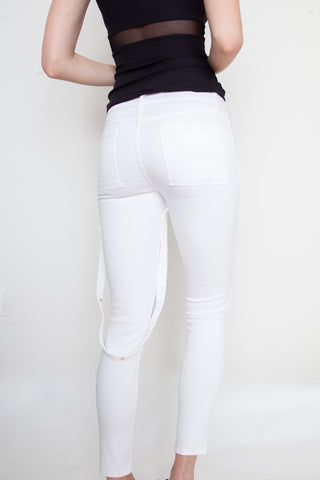 White Strappy Jeans For Charity