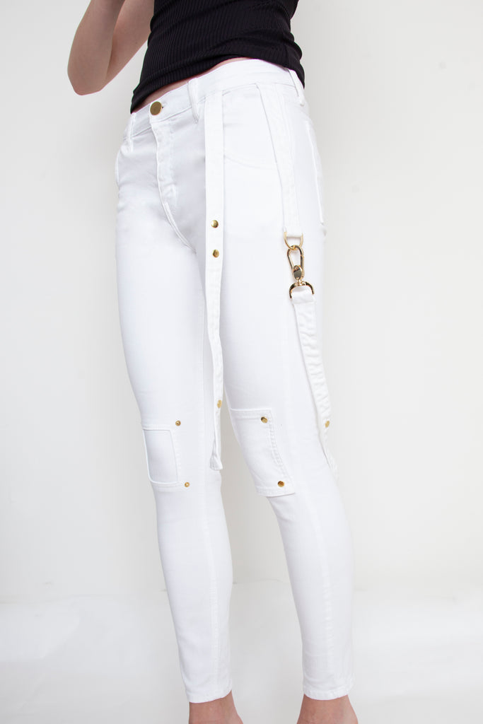 White Strappy Jeans For Charity - Arianne Elmy
