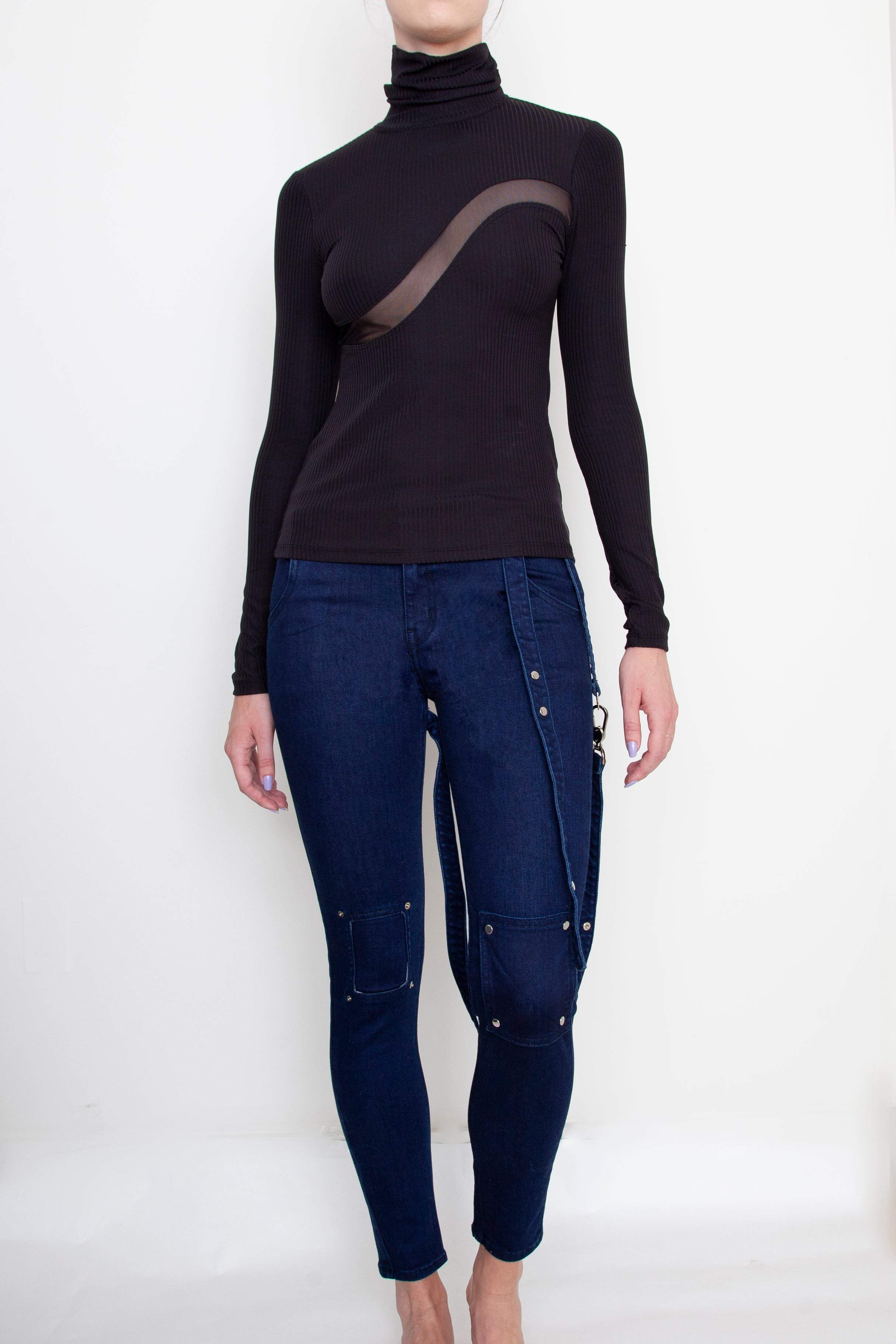 Navy Strappy Jeans For Charity