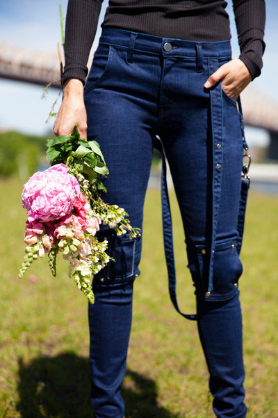 Navy Strappy Jeans For Charity - Arianne Elmy