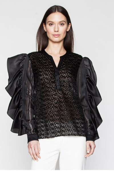 Black Oversized Ruffle Sleeve Top