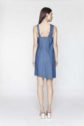 Denim Asymmetrical Snap Dress
