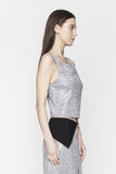 Silver Asymmetrical Crop Top