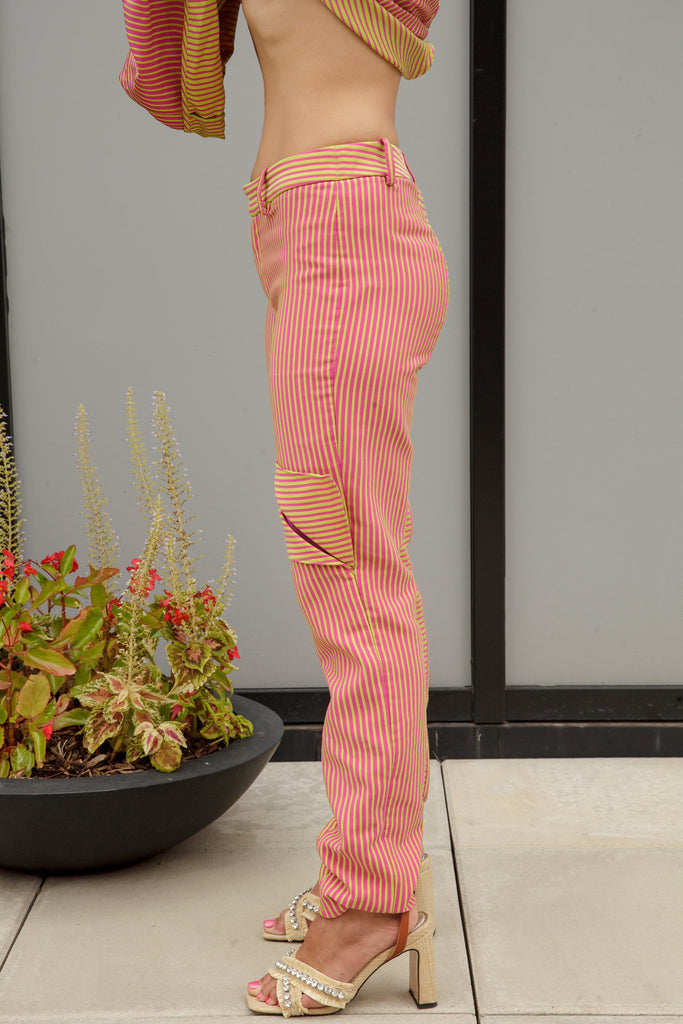 (Size 00-14) Pink and Green Striped Cigarette Vent Pants - Arianne Elmy