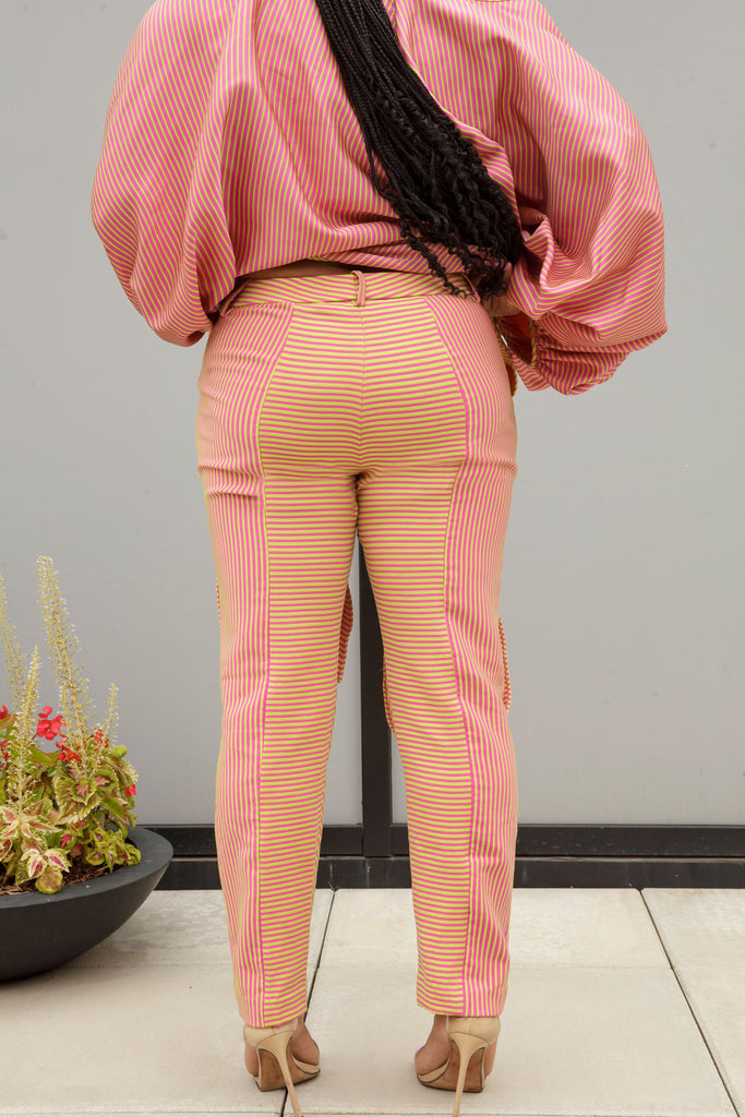 (Size 00-14) Pink and Green Striped Dance Pants - Arianne Elmy