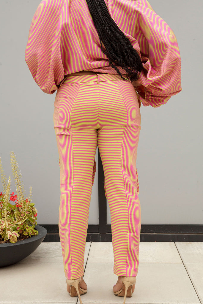 (Size 16-26) Pink and Green Striped Dance Pants - Arianne Elmy