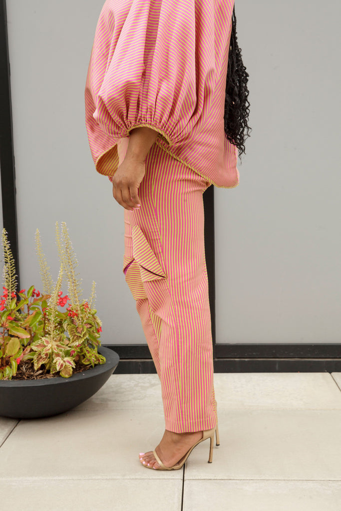 (Size 16-26) Pink and Green Striped Cigarette Vent Pants