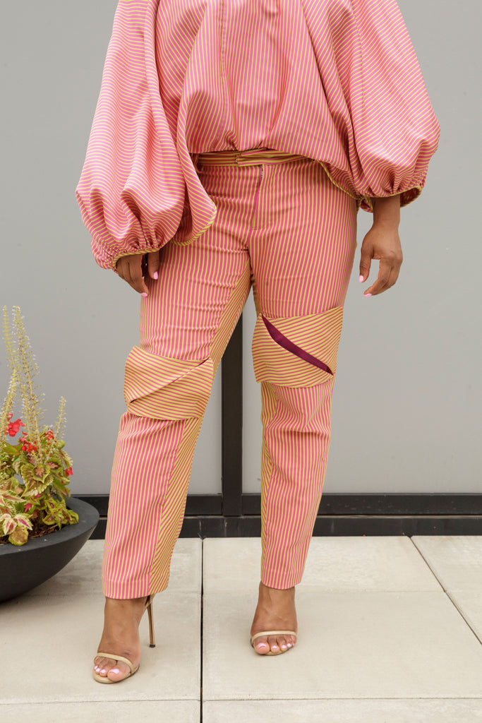 (Size 16-26) Pink and Green Striped Cigarette Vent Pants - Arianne Elmy