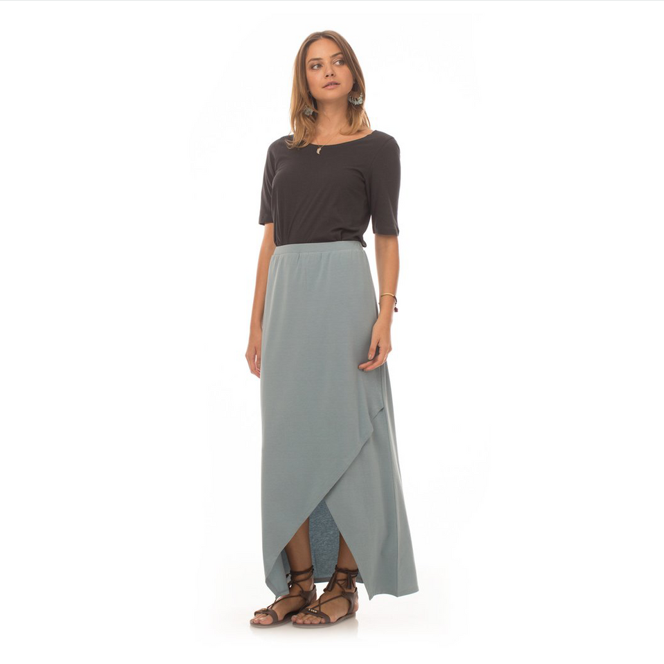 Relaxed Denim Washed Maxi Skirt