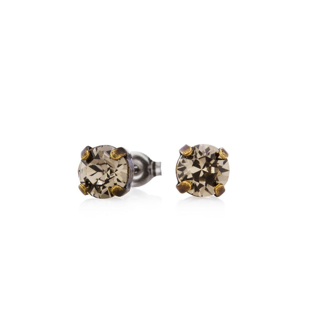 Swarovski Crystal Stud Earrings (Smoke)