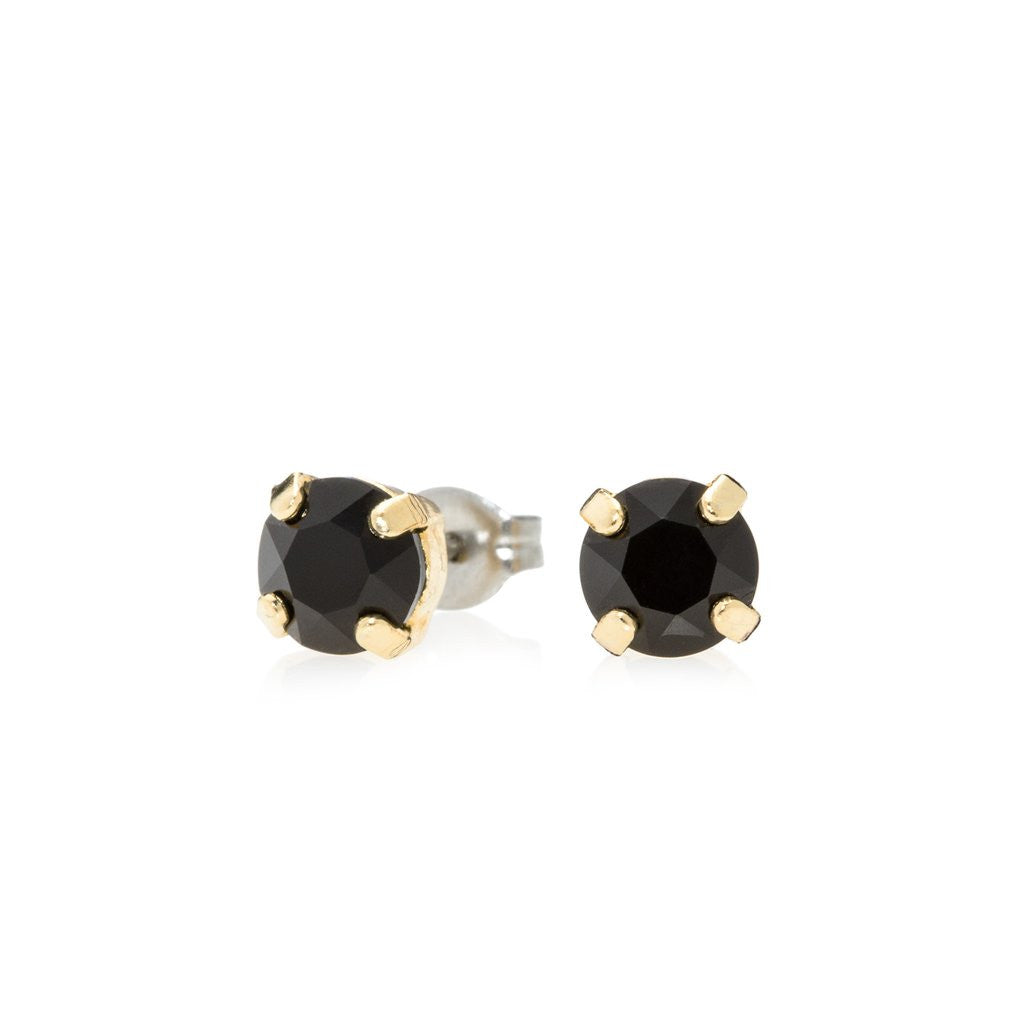 Swarovski Crystal Stud Earrings (Jet Black and Gold)