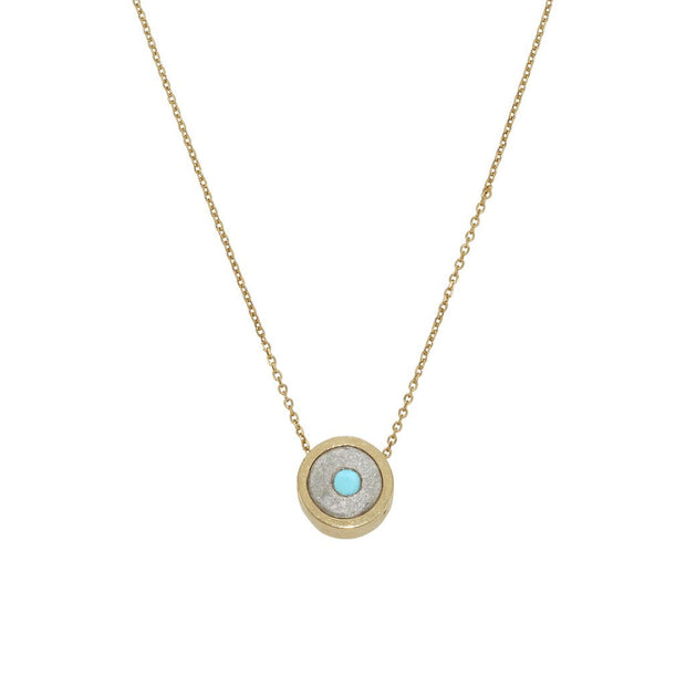 Yellow gold Turquoise gemstone pendant necklace