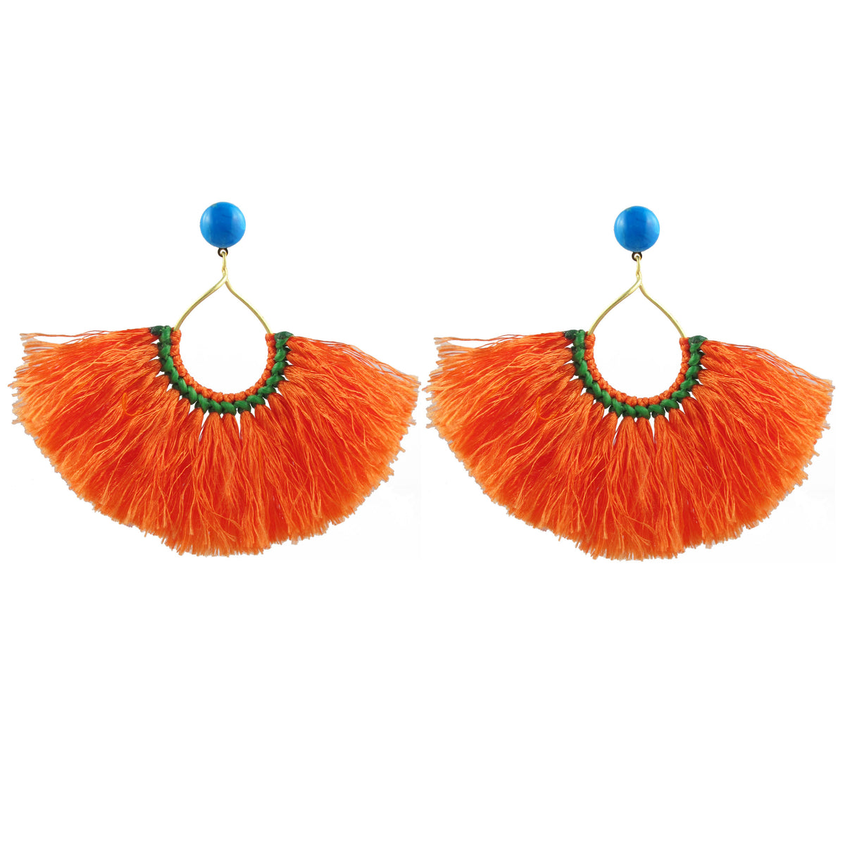 Zuha Hoop Tassel Earrings (Orange)