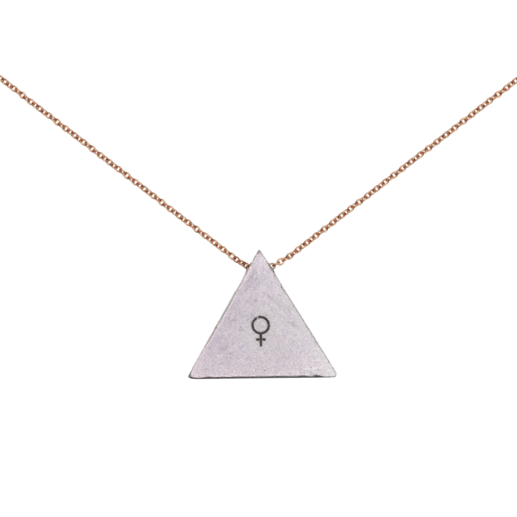 Female gender symbol pendant rose gold necklace