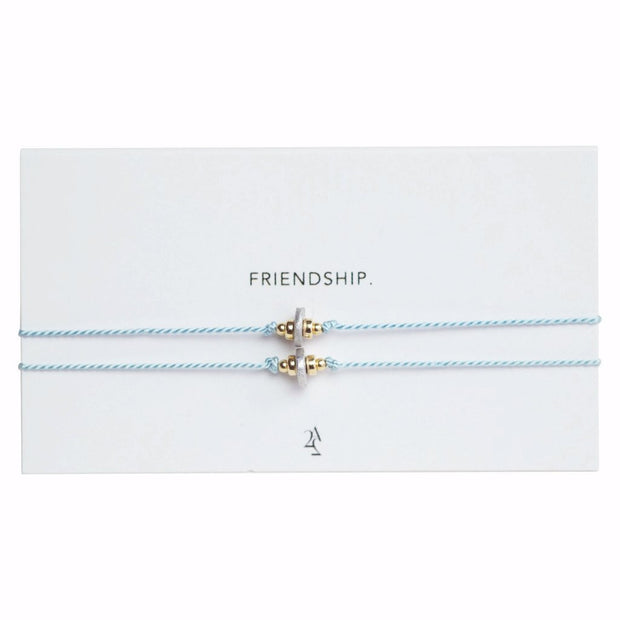 Sky blue friendship bracelet with beading