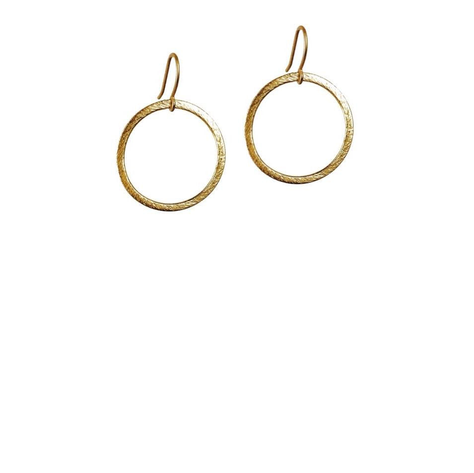 Brushed Drop Hoop Earrings (Gold)
