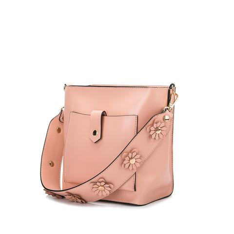 Floral Appliqué Bucket Bag (Blush)
